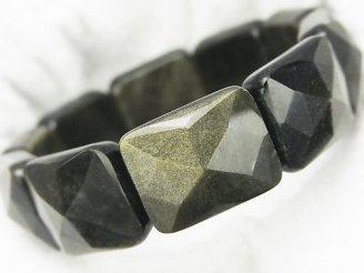 天然石卸 ゴールデンシャインオブシディアンAAA 2つ穴横長レクタングルカット21×17×9mm 1連(ブレス)