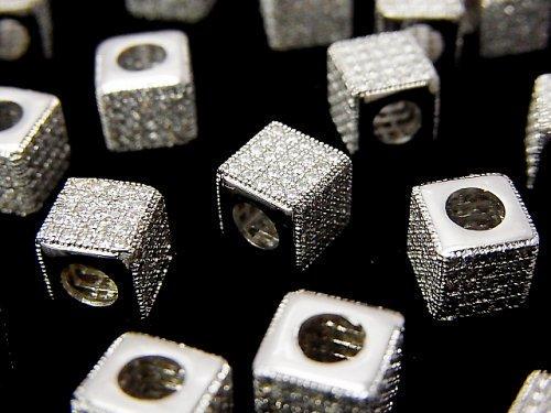メタルパーツ キューブ7×7×7mm シルバーカラー(CZ付) 1個