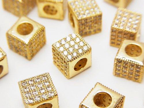 メタルパーツ キューブ7×7×7mm ゴールドカラー(CZ付) 1個