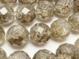 天然石卸 クラックスモーキークォーツ 64面ラウンドカット12mm 半連/1連(約36cm)