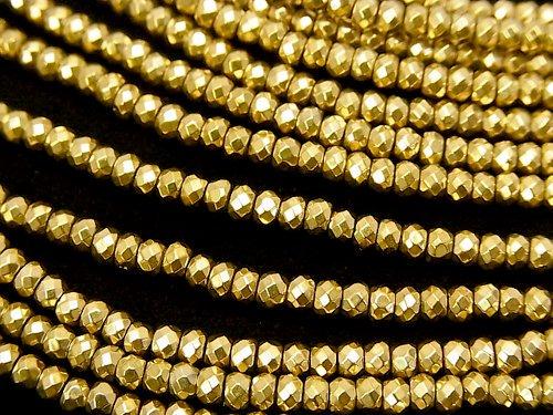 ヘマタイト ボタンカット3×3×2mm  ゴールドコーティング 1連(約38cm)