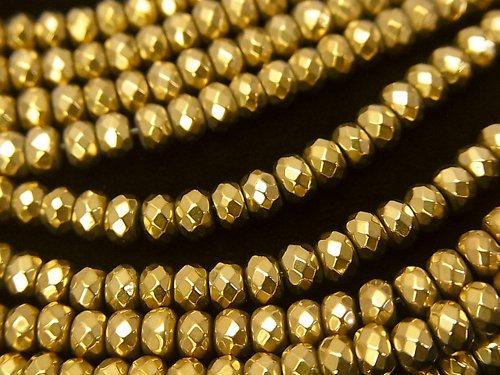 ◆磁気入り◆ヘマタイト ボタンカット4×4×3mm  ゴールドコーティング 1連(約38cm)
