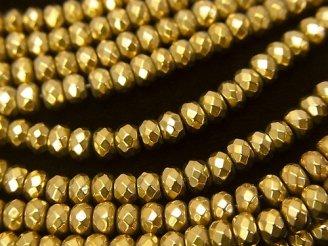 天然石卸 ◆磁気入り◆1連880円!ヘマタイト ボタンカット4×4×3 ゴールドコーティング 1連(約38cm)