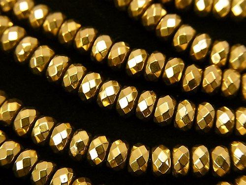 ヘマタイト ボタンカット4×4×3mm  ゴールドコーティング 1連(約37cm)