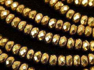 天然石卸 1連780円!ヘマタイト ボタンカット4×4×3 ゴールドコーティング 1連(約37cm)