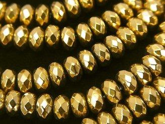 天然石卸 1連880円!ヘマタイト ボタンカット6×6×4 ゴールドコーティング 1連(約38cm)