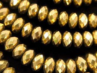 天然石卸 ヘマタイト ボタンカット8×8×5mm  ゴールドコーティング 半連/1連(約38cm)