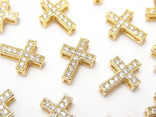 メタルパーツ 13×9.5mm クロス ゴールドカラー(CZ付) 1個
