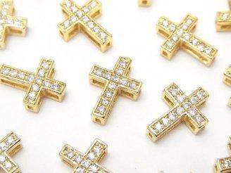 天然石卸 メタルパーツ 13×9.5mm クロス ゴールドカラー(CZ付) 1個200円〜!