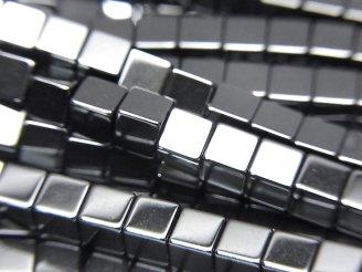 天然石卸 1連220円!ヘマタイト キューブ4×4×4 1連(約38cm)