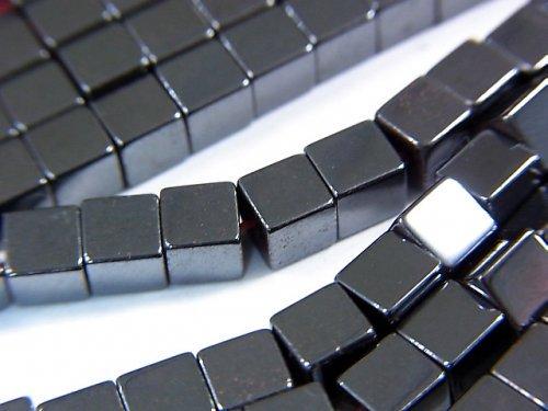 ◆磁気入り◆ヘマタイト キューブ4×4×4mm  1連(約38cm)
