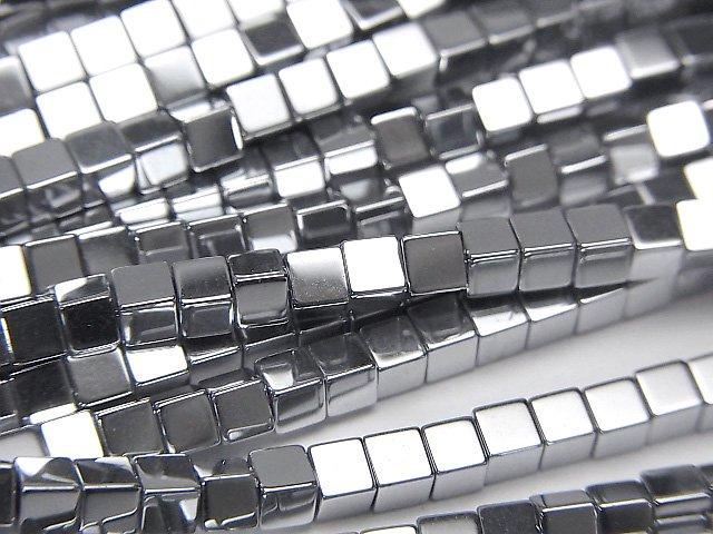 ヘマタイト キューブ3×3×3mm  シルバーコーティング 1連(約38cm)