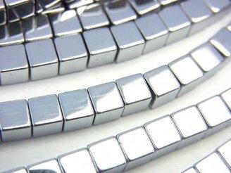 天然石卸 1連480円!ヘマタイト キューブ4×4×4 シルバーコーティング 1連(約38cm)