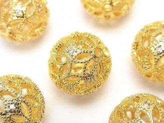天然石卸 メタルパーツ 透かし模様入り ラウンド15mm ゴールドカラー(CZ付き) 1個280円!