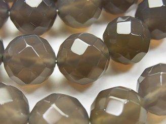 天然石卸 グレーオニキスAAA 64面ラウンドカット14mm 半連/1連(約36cm)