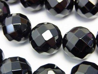 天然石卸 オニキス 64面ラウンドカット16mm 1/4連〜1連(約37cm)