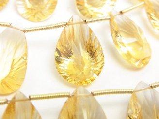 天然石卸 宝石質シトリンAAA ペアシェイプ コンケーブカット 半連/1連(約18cm)