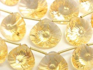 天然石卸 宝石質シトリンAAA マロン コンケーブカット 半連/1連(約18cm)