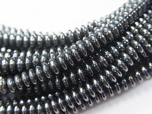 ヘマタイト ロンデル(ボタン)4×4×2mm  1連(約38cm)