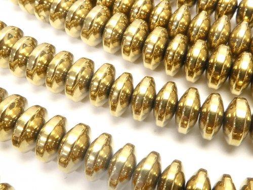 ヘマタイト ロンデル(ボタン)6×6×3mm  ゴールドコーティング 1連(約38cm)