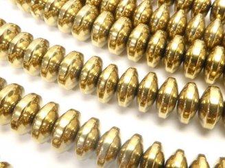 天然石卸 1連480円!ヘマタイト ロンデル(ボタン)6×6×3 ゴールドコーティング 1連(約38cm)