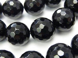 天然石卸 オニキス 128面ラウンドカット18mm 1/4連〜1連(約34cm)