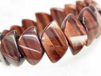 天然石卸 1連1,380円!レッドタイガーアイAAA- 2つ穴リーフ18×11×5mm 1連(ブレス)