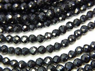 天然石卸 特価!1連1,480円!宝石質ブラックスピネルAAA ラウンドカット3.5mm 1連(約32cm)