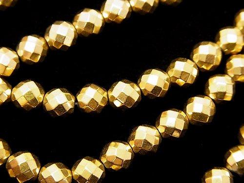 ◆磁気入り◆ヘマタイト 64面ラウンドカット6mm ゴールドコーティング 1連(約38cm)