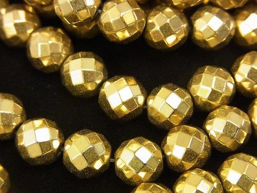 ◆磁気入り◆ヘマタイト 64面ラウンドカット8mm ゴールドコーティング 1連(約36cm)