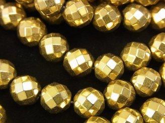 天然石卸 ◆磁気入り◆1連880円!ヘマタイト 64面ラウンドカット8mm ゴールドコーティング 1連(約36cm)
