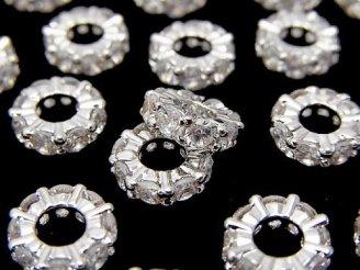 天然石卸 メタルパーツ ロンデル9×9×3mm シルバーカラー(CZ付) 3個380円!