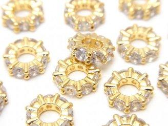 天然石卸 メタルパーツ ロンデル9×9×3 ゴールドカラー(CZ付) 3個380円!