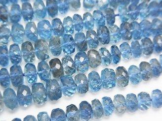 天然石卸 宝石質サンタマリア アクアマリンAAAAA ボタンカット サイズグラデーション 半連/1連(約38cm)