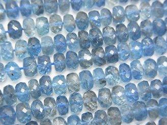 天然石卸 宝石質サンタマリア アクアマリンAAAA++ ボタンカット サイズグラデーション 半連/1連(約42cm)