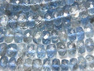 天然石卸 宝石質サンタマリア アクアマリンAAAA ボタンカット サイズグラデーション 半連/1連(約42cm)