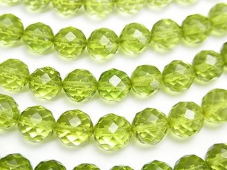 天然石卸 グリーンアンバーAAA 64面ラウンドカット7mm 5粒〜1連(約38cm)
