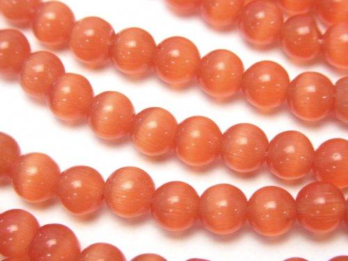 オレンジカラーキャッツアイ ラウンド6mm 1連(約34cm)