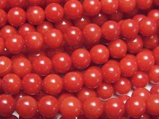 天然石卸 1連580円!赤珊瑚・レッドコーラル(染) ラウンド5mm 1連(約38cm)