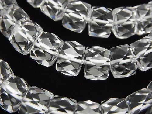 【素晴らしい輝き】宝石質クリスタルAAA ボタンカット10×10×7mm 1連(ブレス)