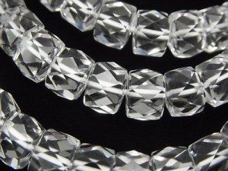 天然石卸 素晴らしい輝き!宝石質クリスタルAAA ボタンカット10×10×7mm 1連(ブレス)
