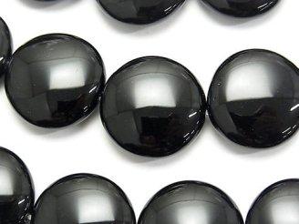 天然石卸 オニキス 大粒コイン20×20×7mm 半連/1連(約37cm)