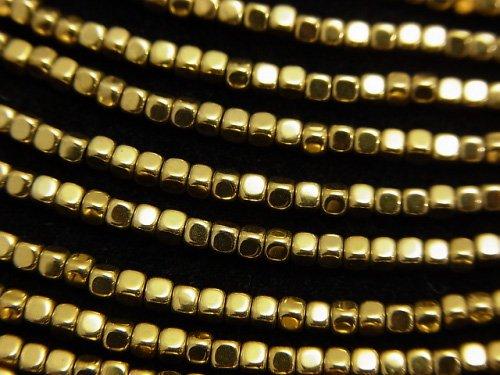 ヘマタイト 極小キューブ2×2×2mm  ゴールドコーティング 1連(約38cm)