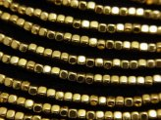 天然石卸 1連380円!ヘマタイト 極小キューブ2×2×2 ゴールドコーティング 1連(約38cm)