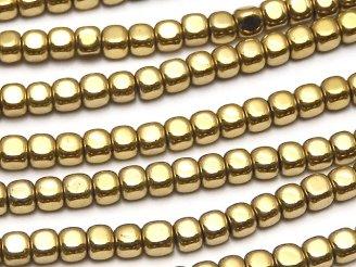 天然石卸 1連380円!ヘマタイト 小粒キューブ3×3×3mm  ゴールドコーティング 1連(約38cm)