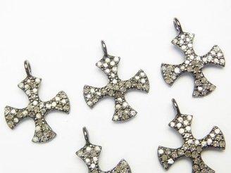 天然石卸 ダイヤモンド クロス チャーム 14×14×1 Silver925製(BKロジウム) 1個!