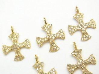 ダイヤモンド クロス チャーム 14×14×1 Silver925製(18KGP) 1個!