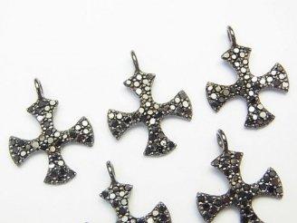 天然石卸 ブラックダイヤモンド クロス チャーム 13×13×1 Silver925製(BKロジウム) 1個!