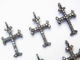 天然石卸 ダイヤモンド クロス チャーム 16×11×1.5mm Silver925製(BKロジウム) 1個3,480円!