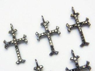天然石卸 ブラックダイヤモンド クロス チャーム 16×11×1.5 Silver925製(BKロジウム) 1個3,480円!